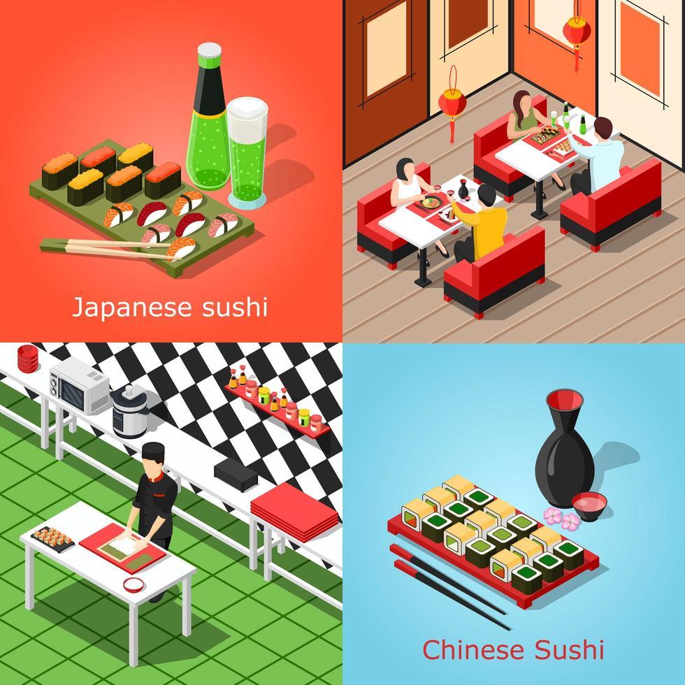 sushi bar isométrico 2x2 vetor