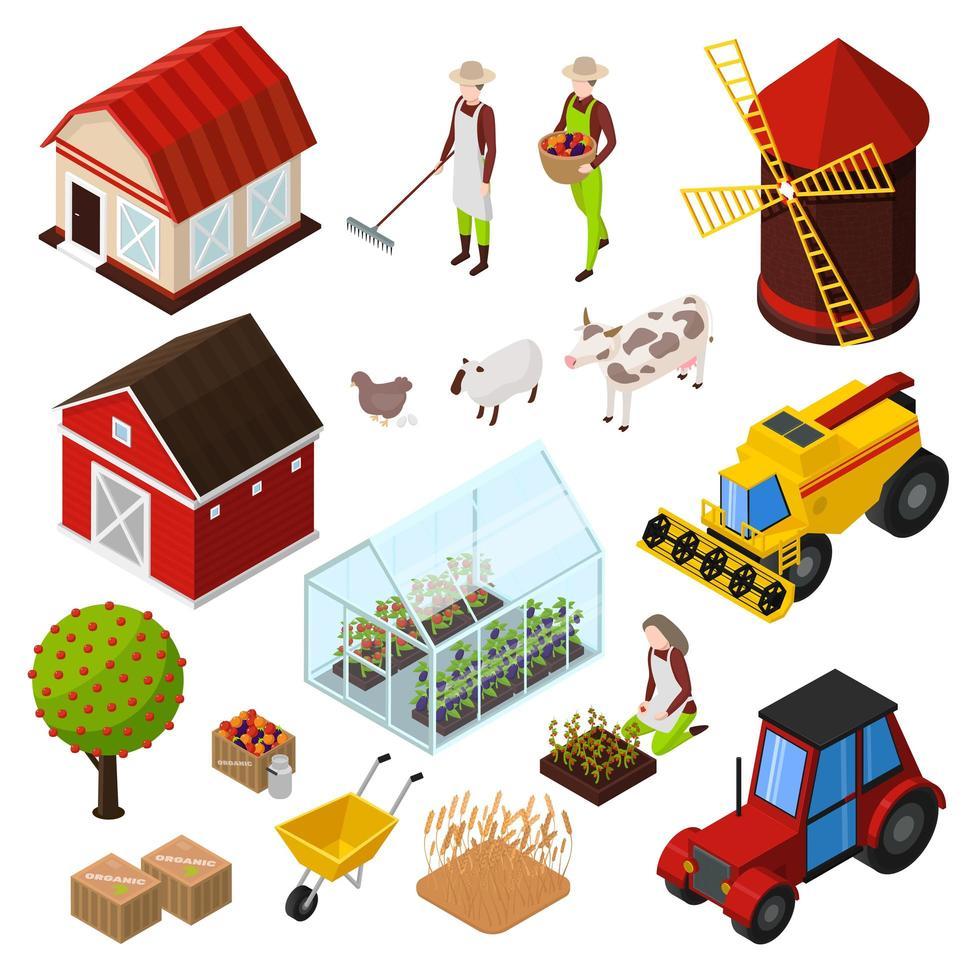 Conjunto de ícones isométricos de produtos de agricultura orgânica vetor