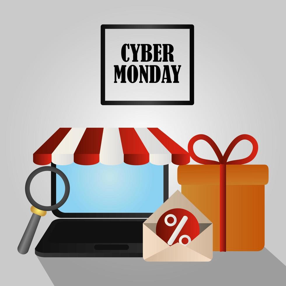 cyber segunda-feira. laptop, caixa de presente e e-mail vetor