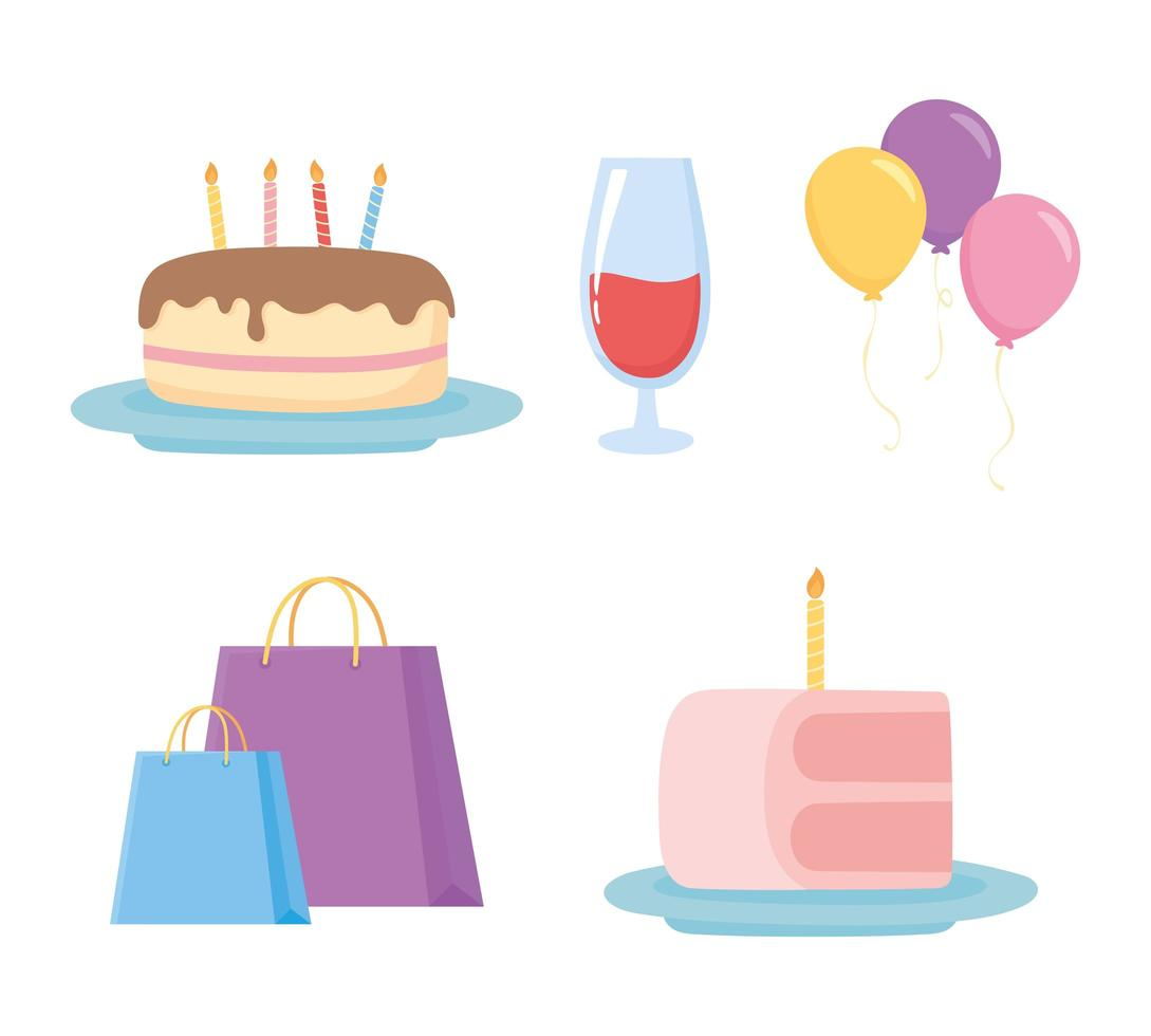 celebração de festa, bolsas, bolos, balões e taça de vinho vetor