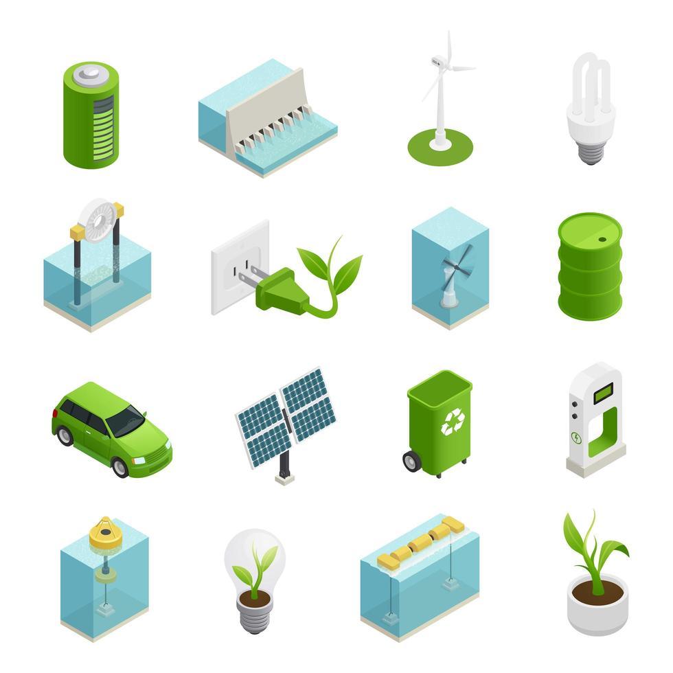 ícones isométricos de ecologia de energia verde vetor