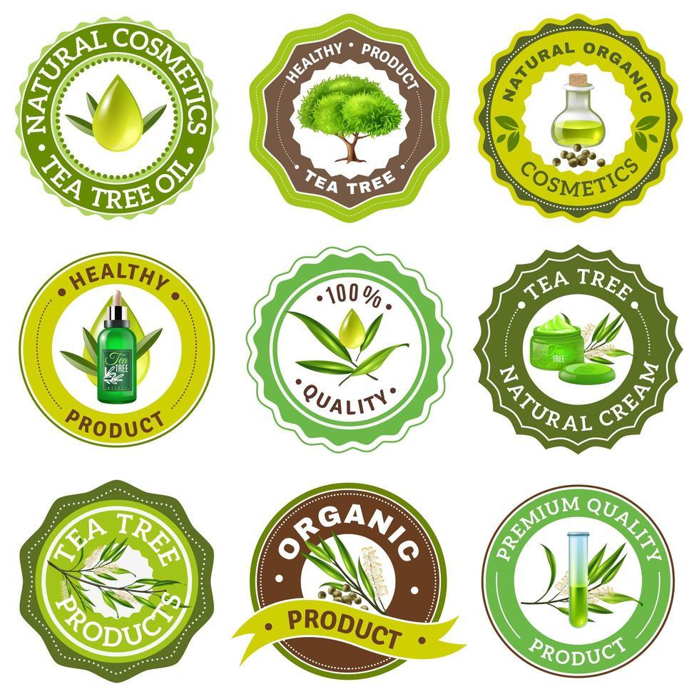 conjunto de emblema da árvore do chá vetor