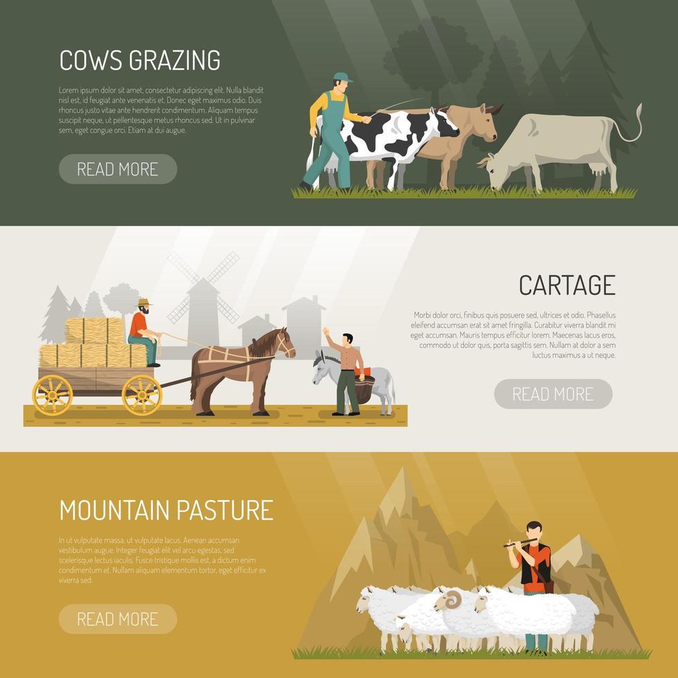 banners de animais de fazenda vetor