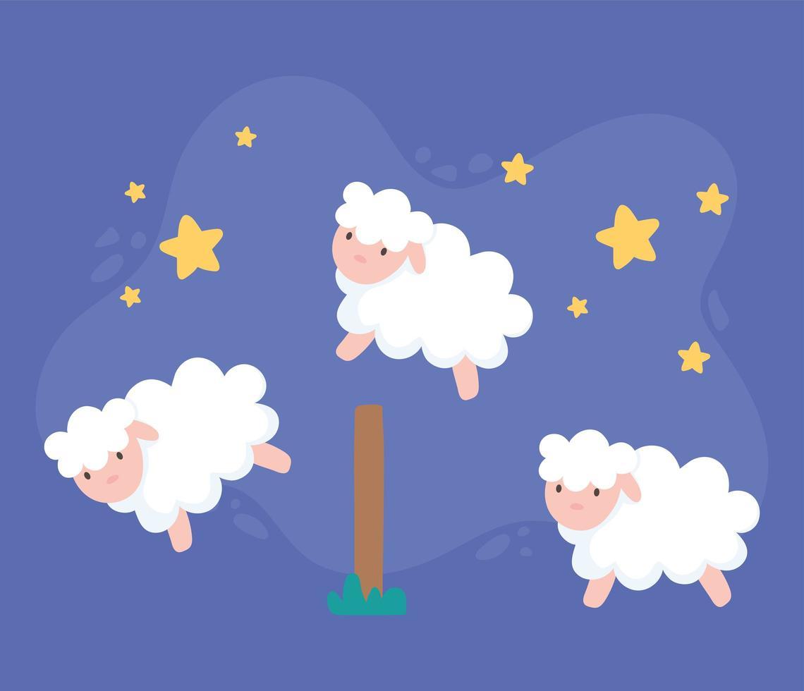 ovelha fofa com desenho de estrelas vetor