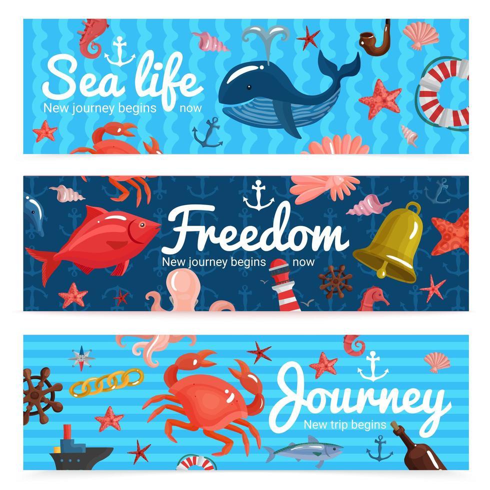 banners náuticos do mar vetor