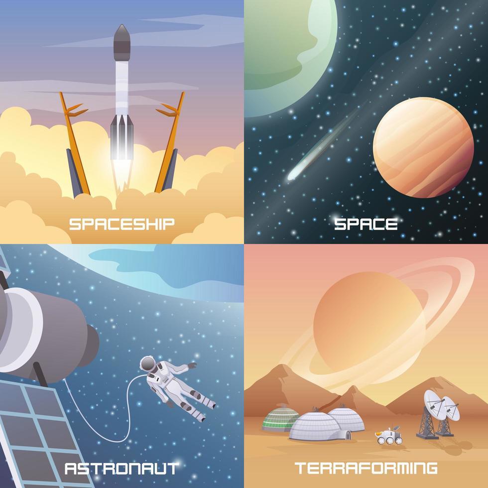astronauta exploração espacial plano 2x2 vetor