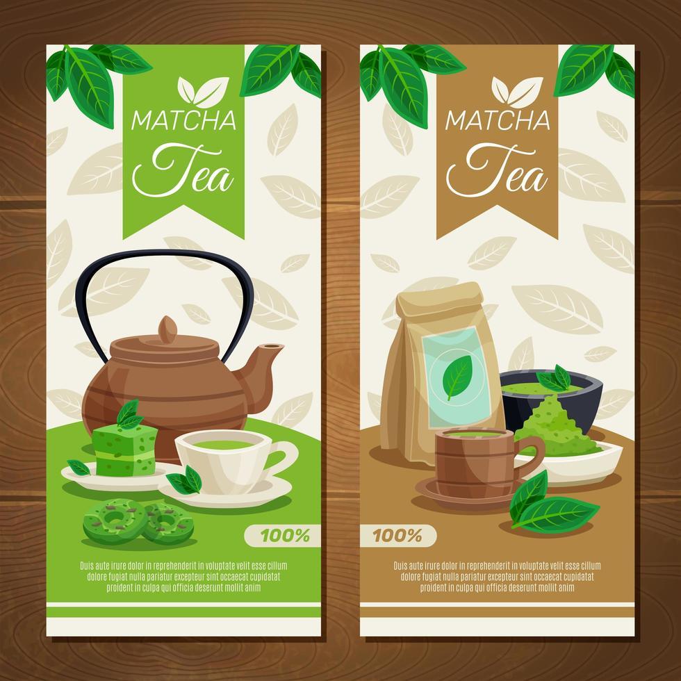 banners verticais de chá matcha vetor