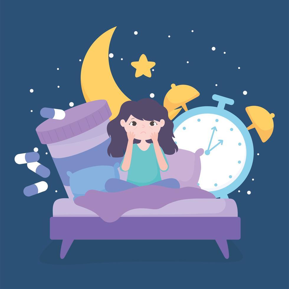 insônia. menina na cama com remédio e relógio vetor