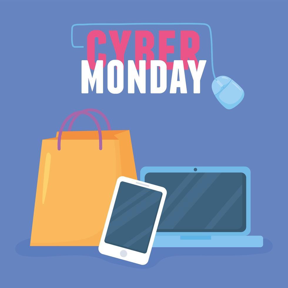 cyber segunda-feira. sacola de compras, laptop e aplicativo para smartphone vetor
