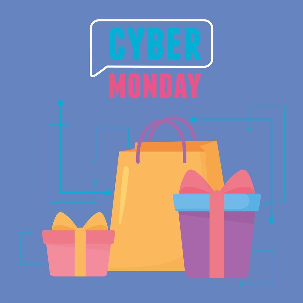 cyber segunda-feira. sacola de compras e caixas de presente vetor
