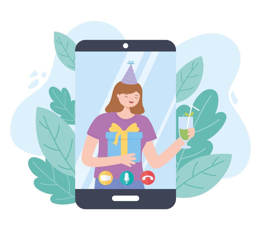 festa online. menina comemorando com presente por smartphone vetor