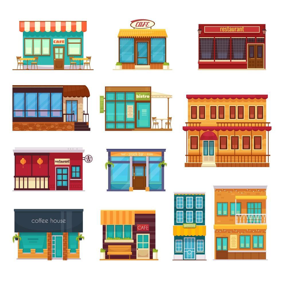 ícones lisos do restaurante de fast food de rua café vetor