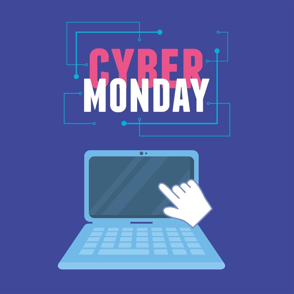 cyber segunda-feira. tela de clique virtual no laptop vetor