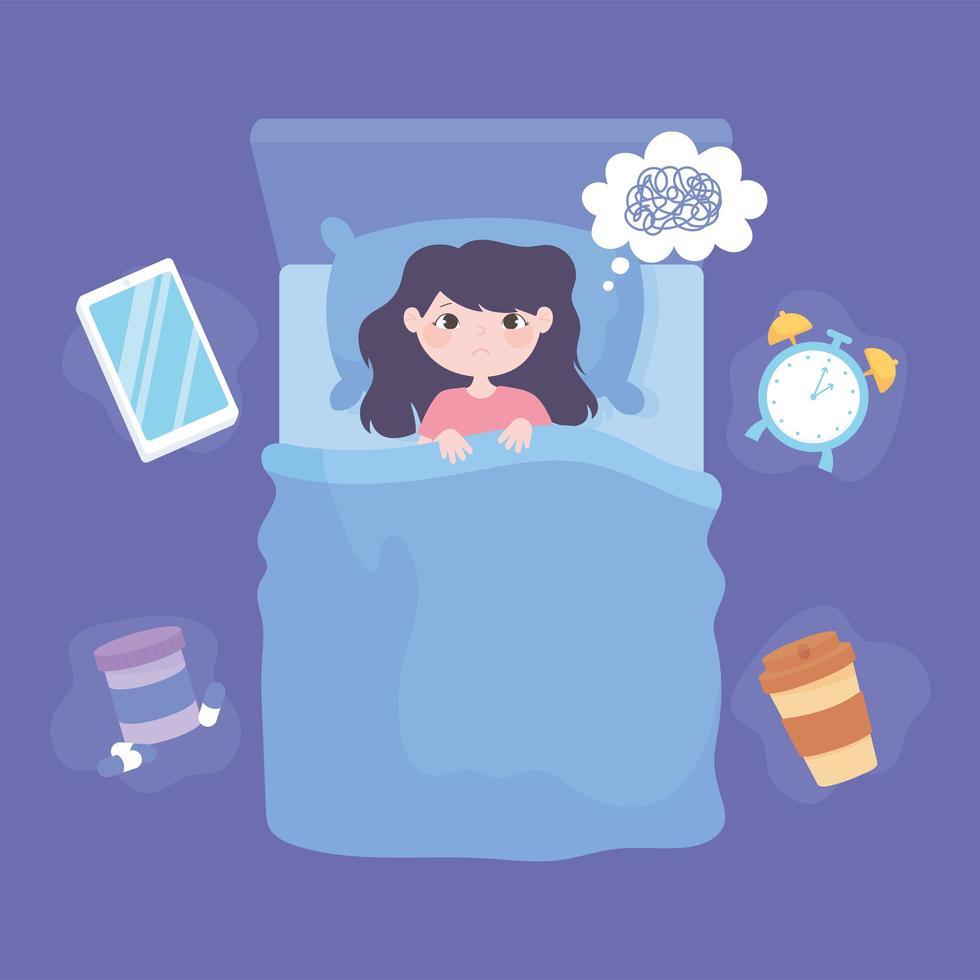 insônia. garota na cama deprimida vista superior vetor