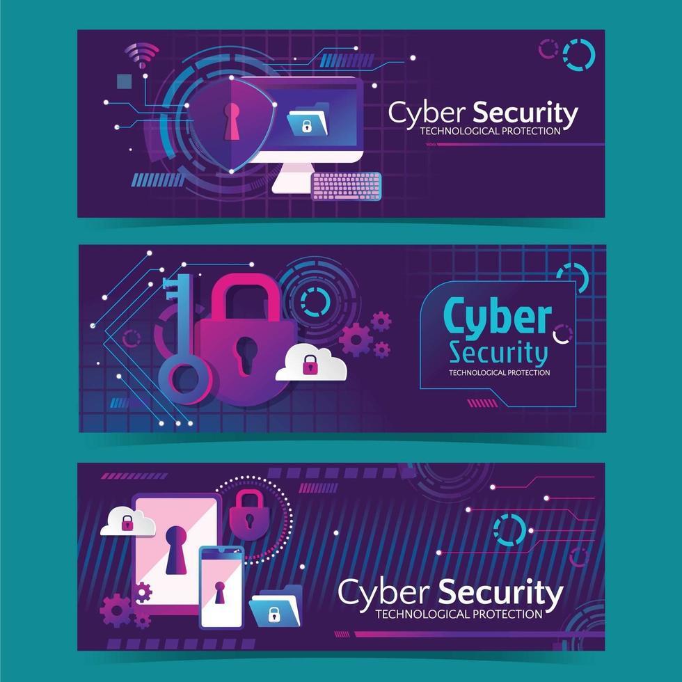 banner futurístico da web do dia da segurança cibernética vetor