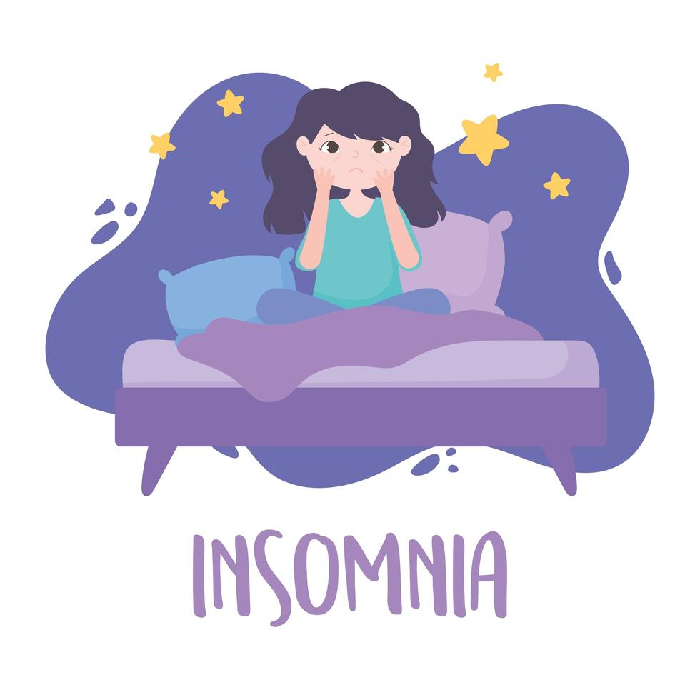 insônia. menina sem dormir na cama com bolsas nos olhos vetor