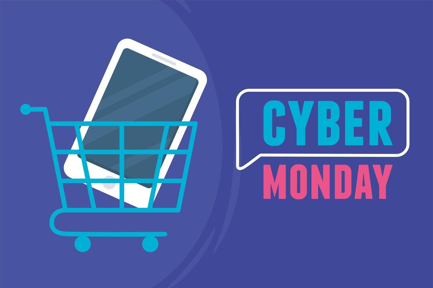 cyber segunda-feira. smartphone dentro do carrinho de compras vetor