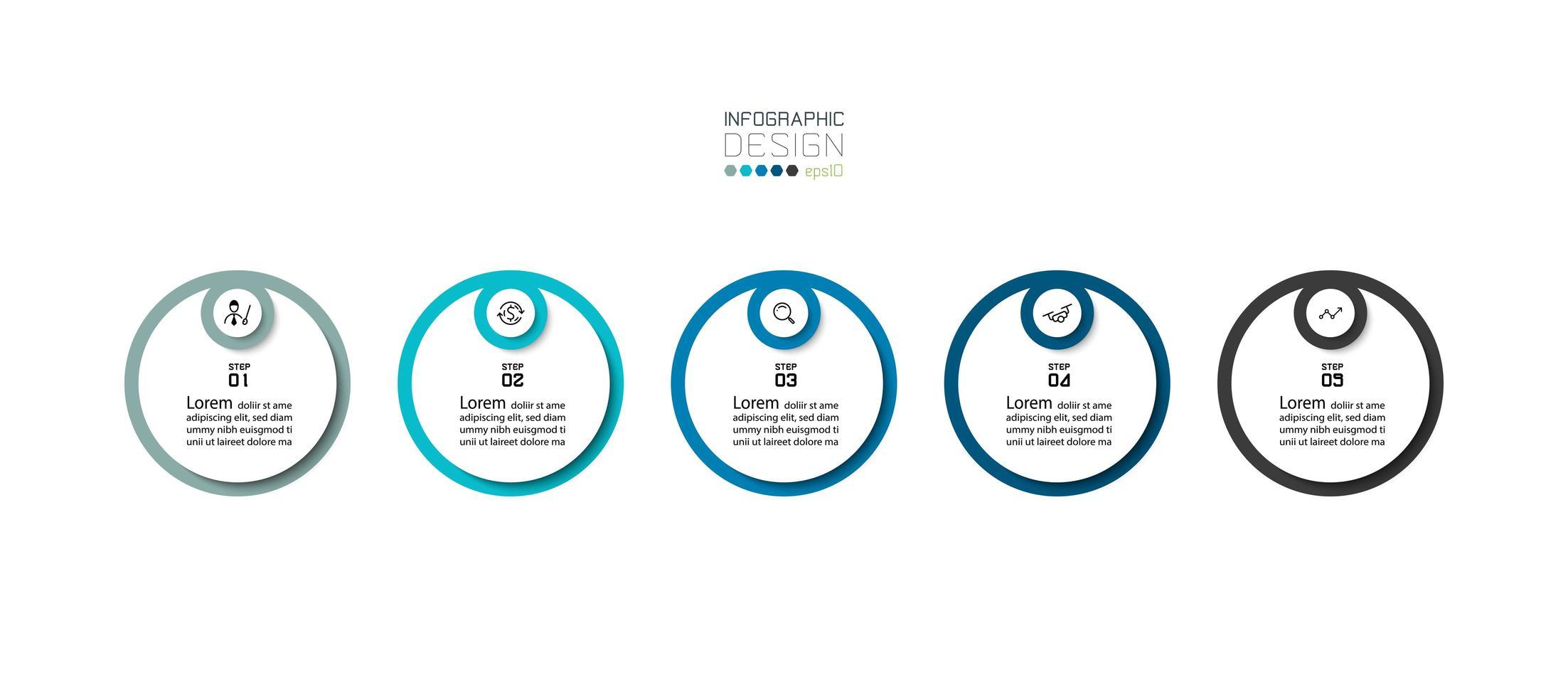 apresentação de infográficos modernos em 5 etapas vetor