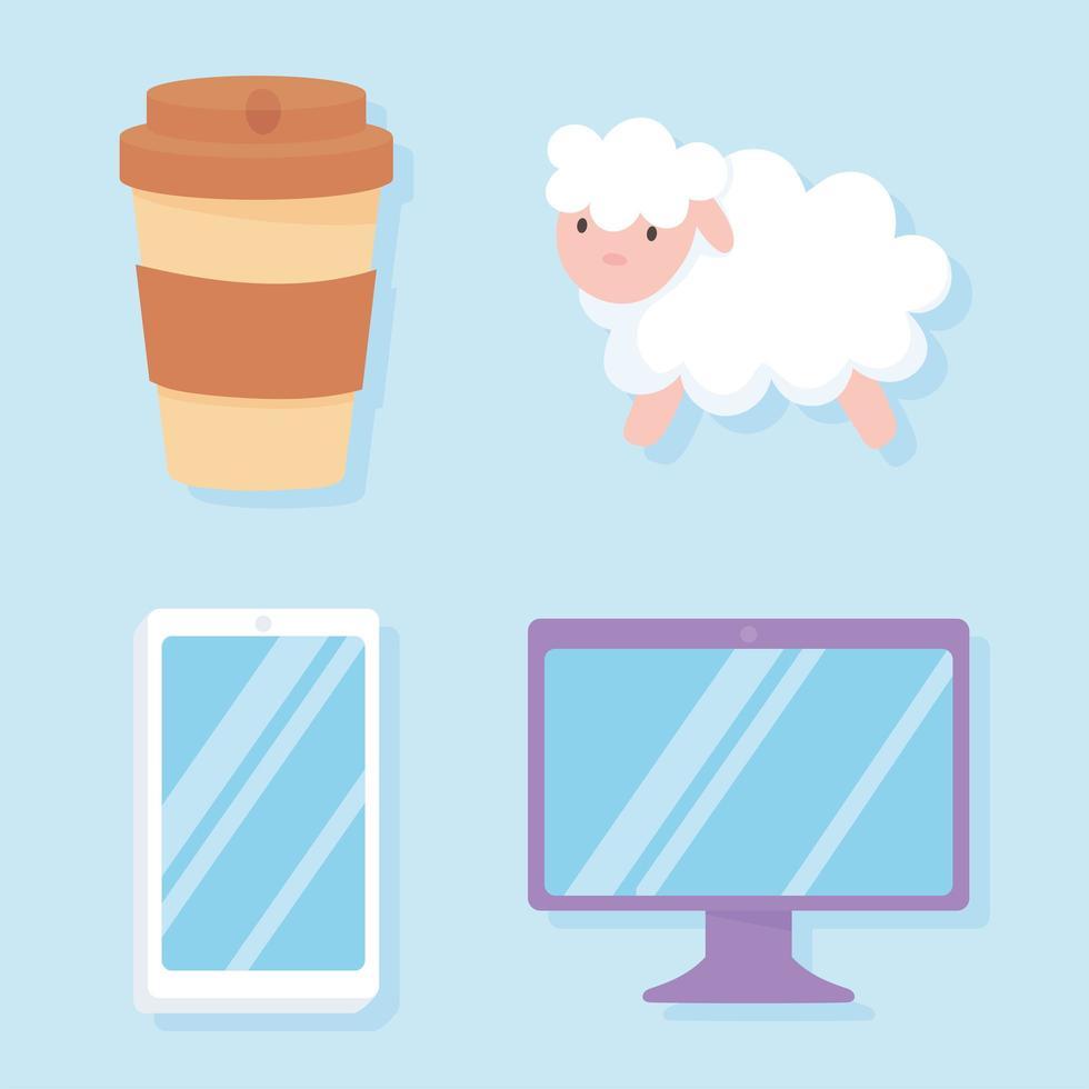 insônia. ícones de ovelhas, computador, celular e xícara de café vetor