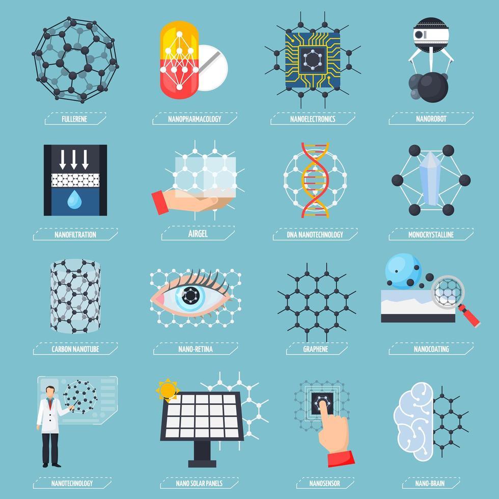 conjunto de ícones de nanotecnologia vetor