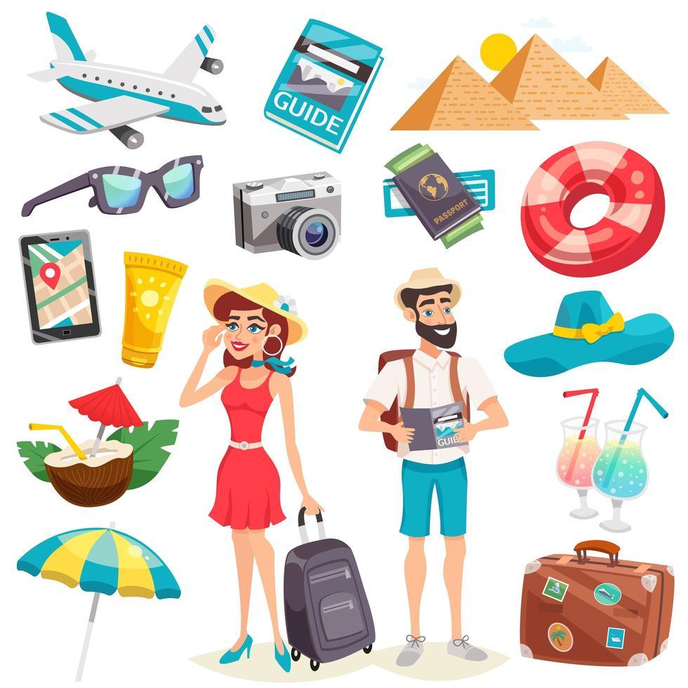 conjunto de viagens de férias de verão vetor