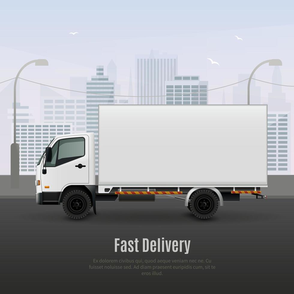 composição realista de veículos de carga vetor