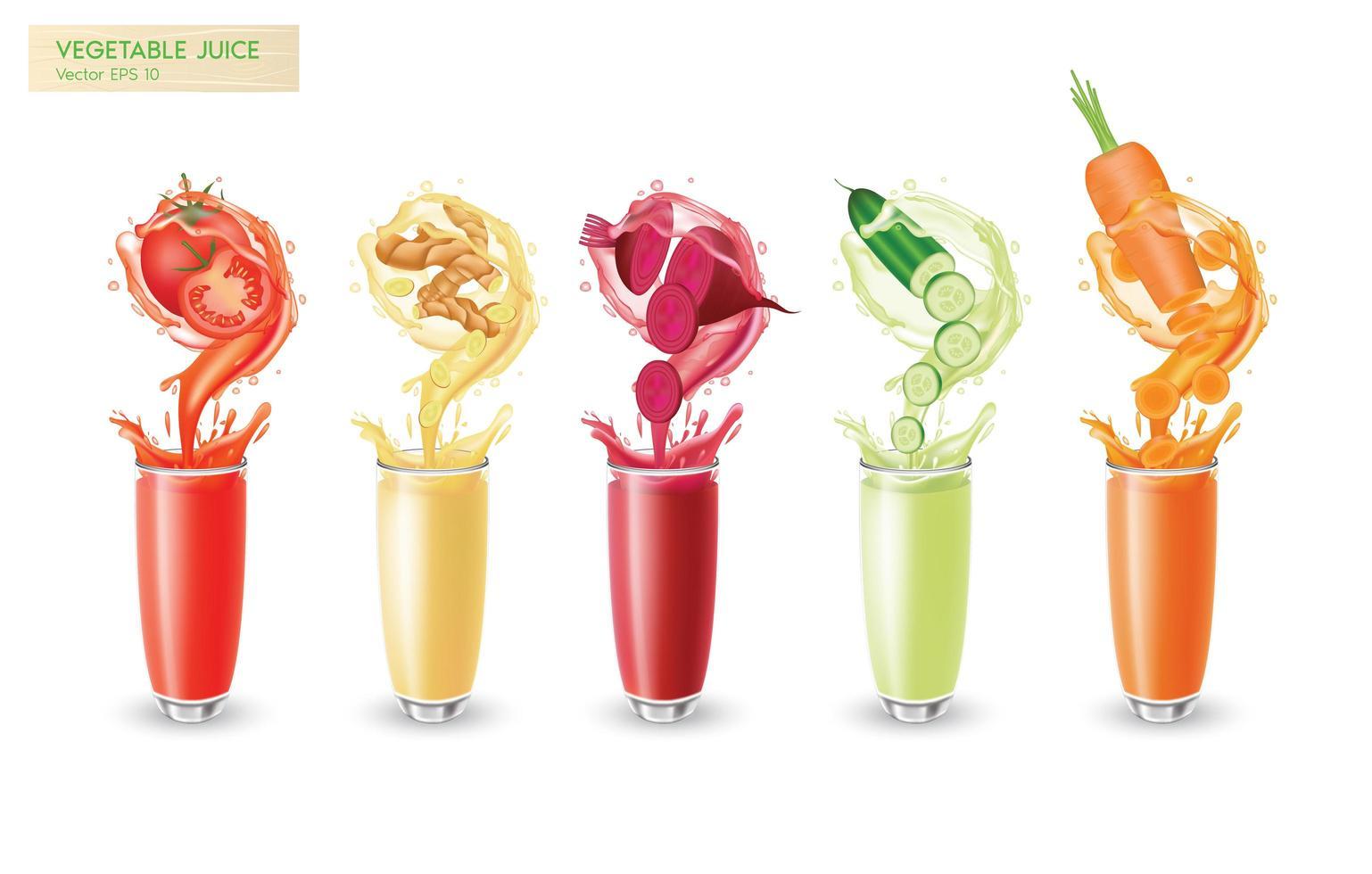 conjunto realista de suco de vegetais frescos vetor