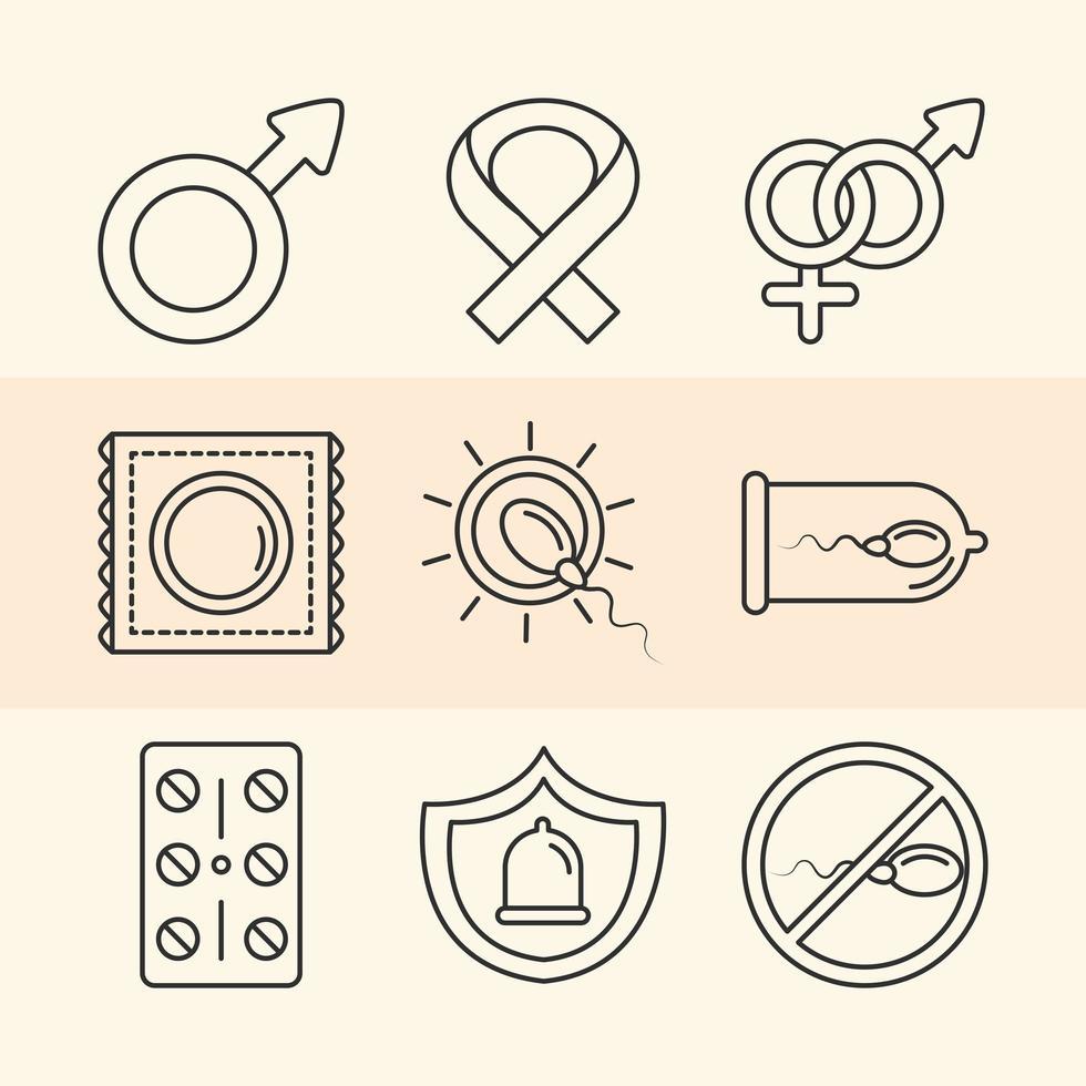 saúde sexual. ícones de métodos de contracepção vetor
