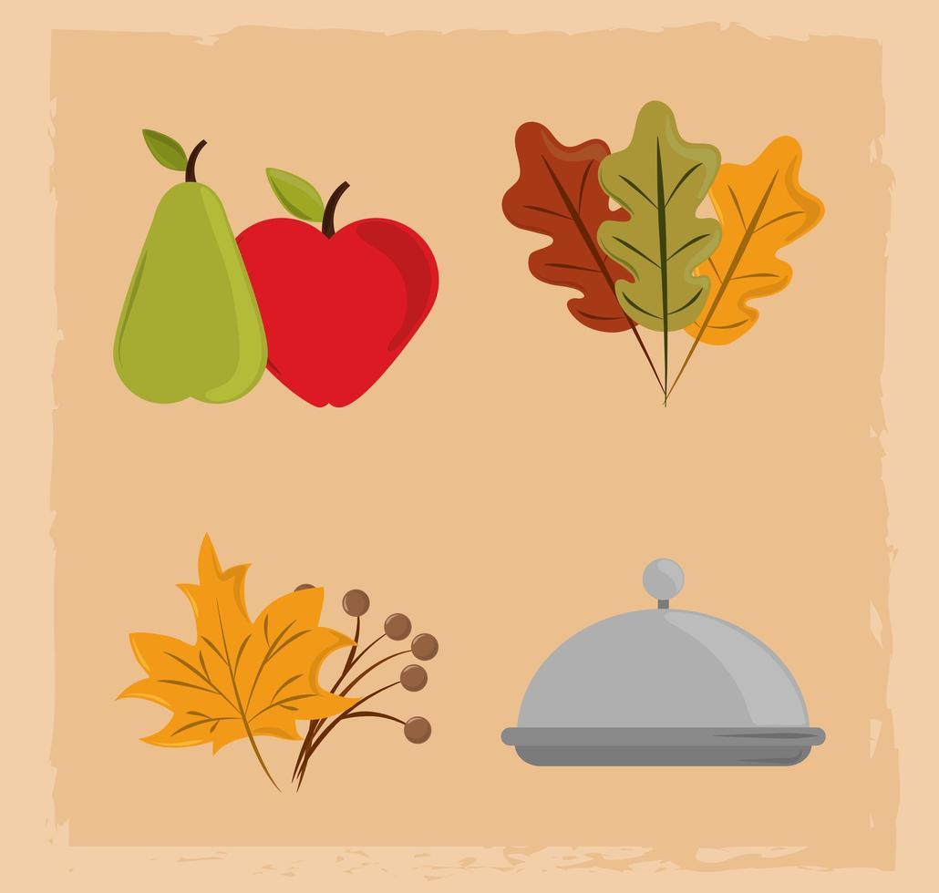 Feliz dia de ação de graças. ícones de prato, frutas e folhagem vetor