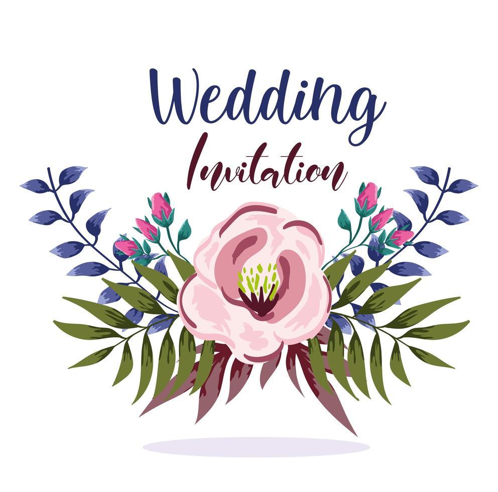 ornamento de casamento floral decorativo cartão ou convite vetor