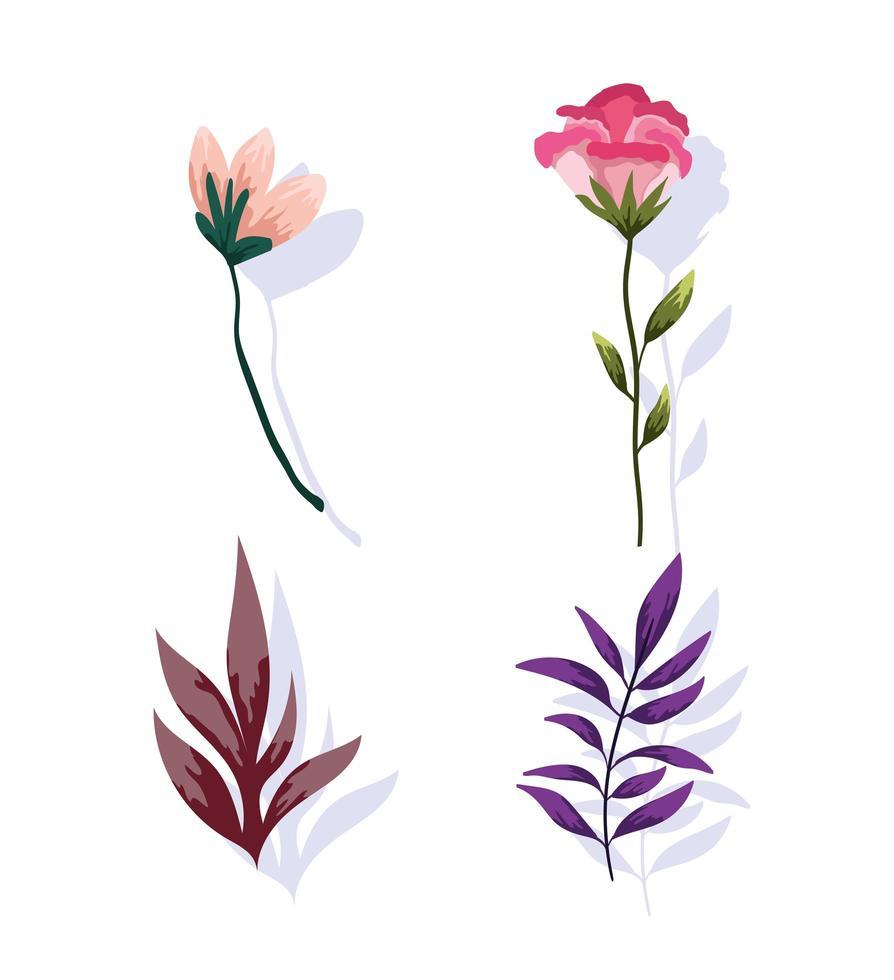flor, ramo, folhagem e vegetação. projeto verde da natureza vetor