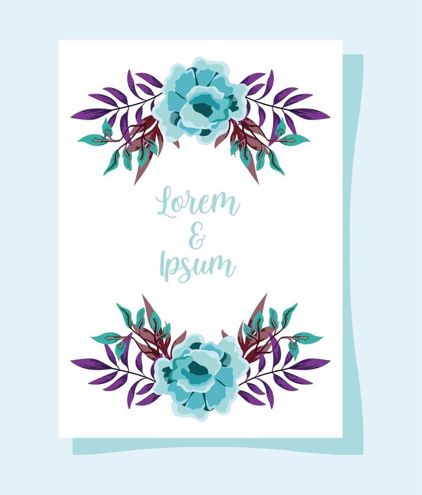 cartão ou convite de ornamento floral de casamento vetor