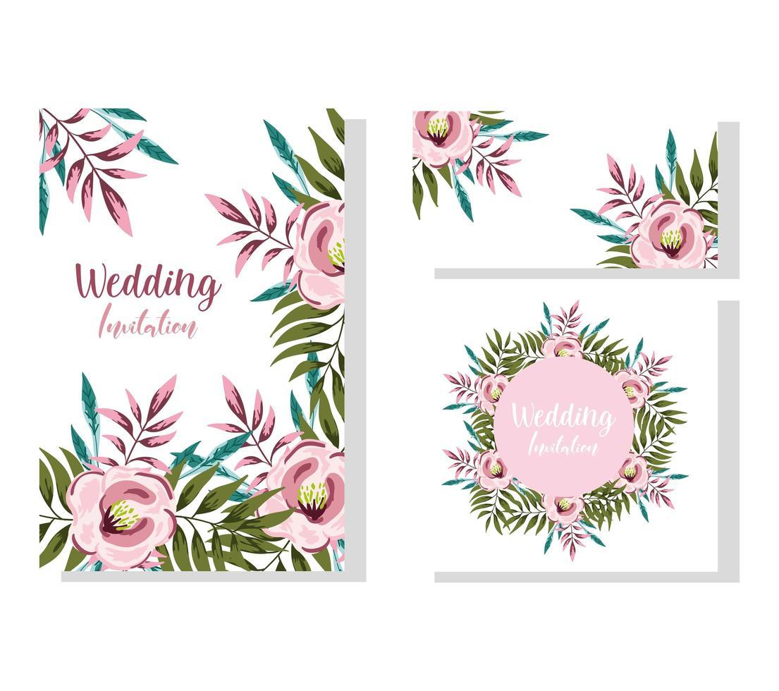 ornamento de casamento floral flor cartão decorativo vetor