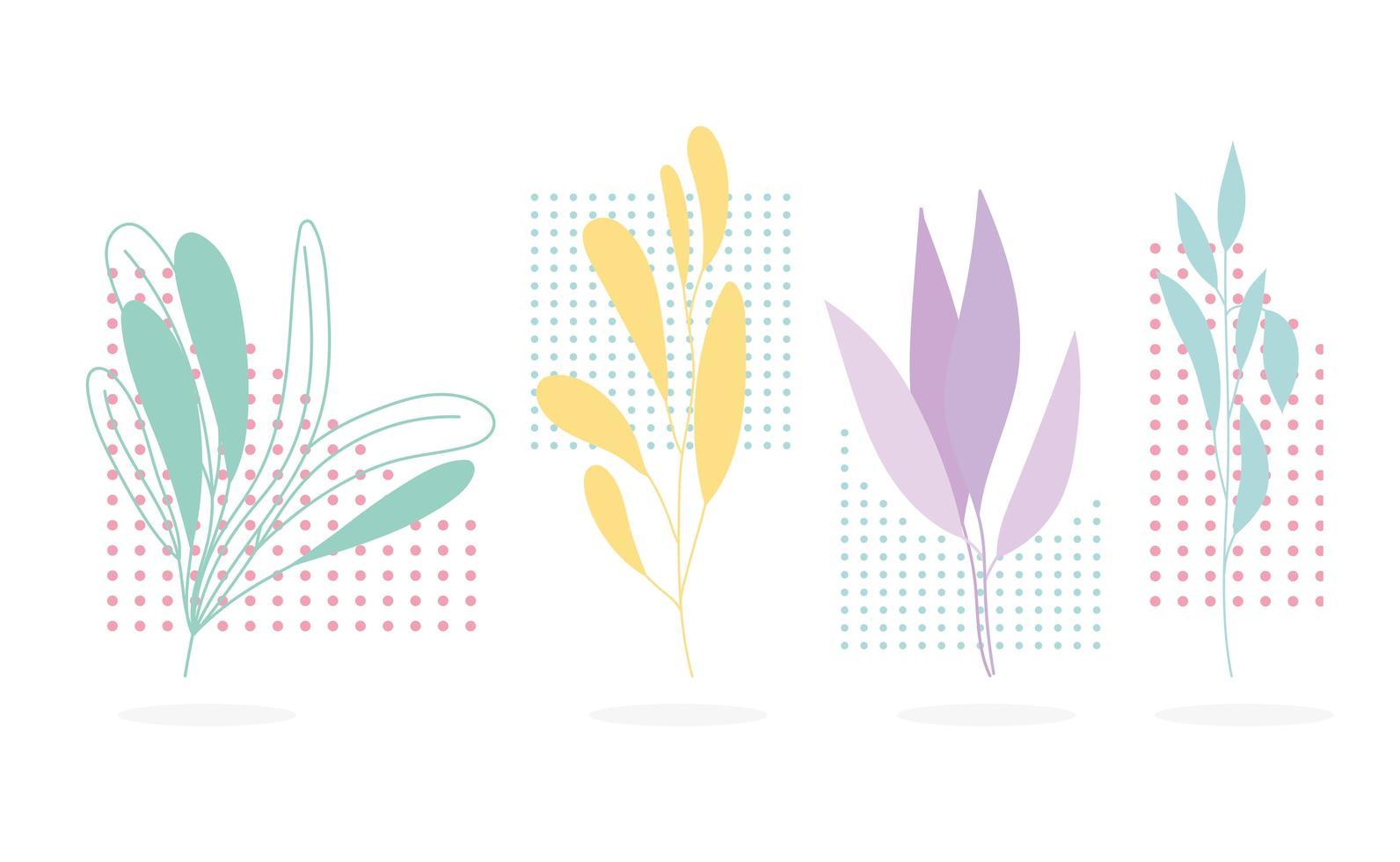 ramo, folhas, figura botânica. fundo geométrico de decoração vetor