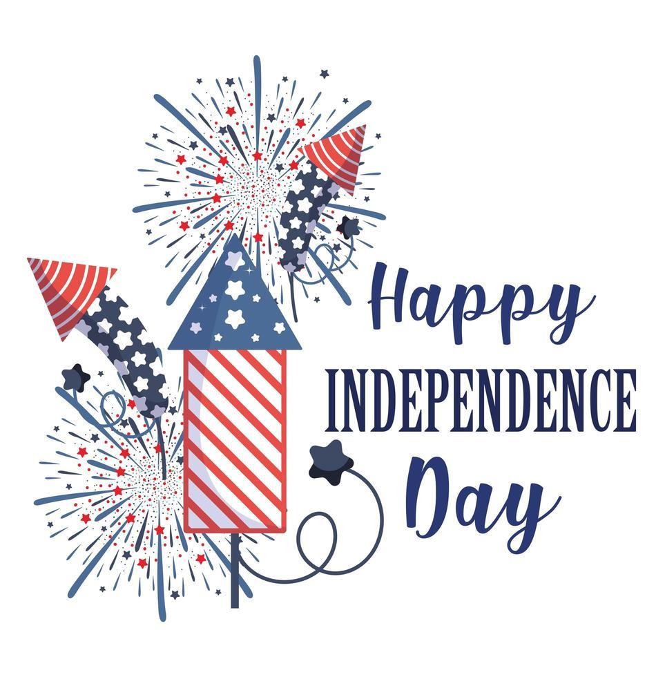 desenho vetorial de fogos de artifício para o dia da independência vetor