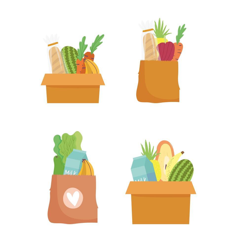 sacos de papel e caixas de papelão com comida vetor