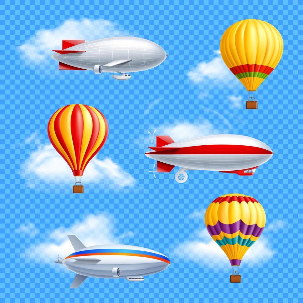 balões de ar de dirigível dirigível conjunto realista transparente vetor
