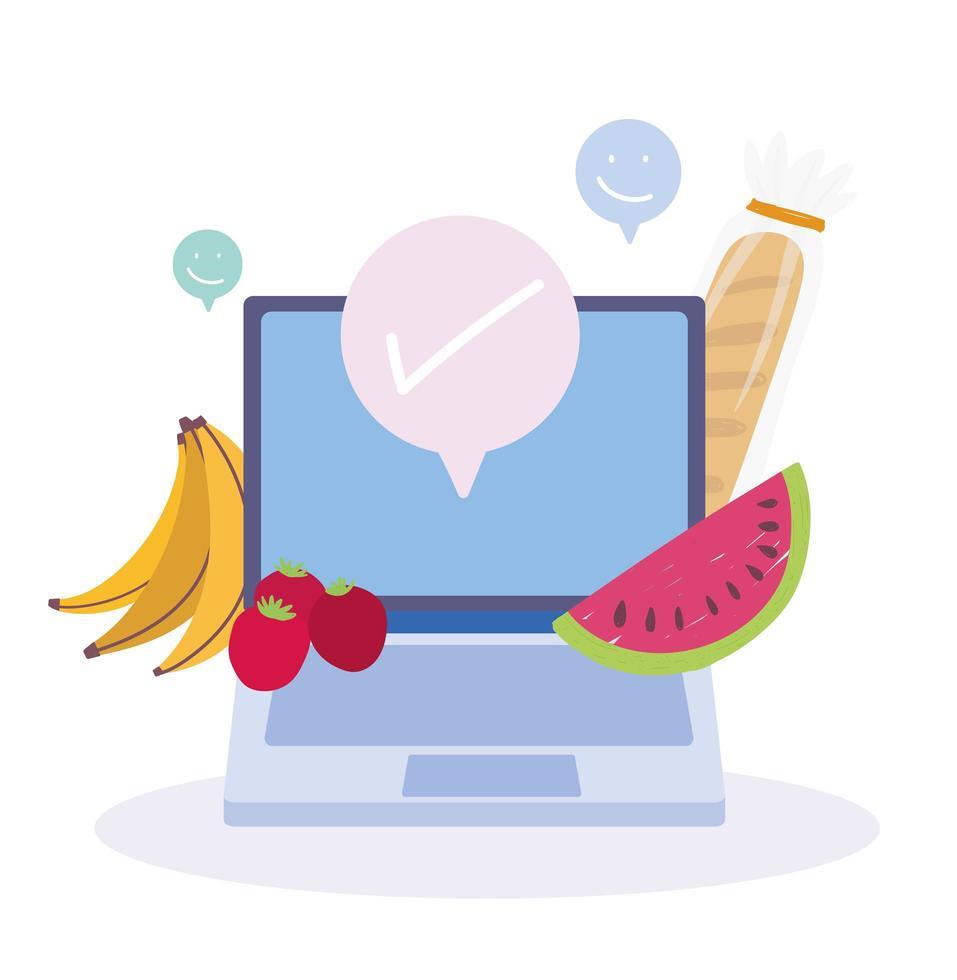 mercado online. laptop, frutas e pedidos de comida vetor