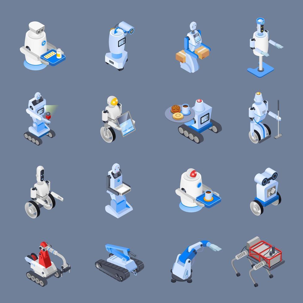 robô profissões isométricas vetor