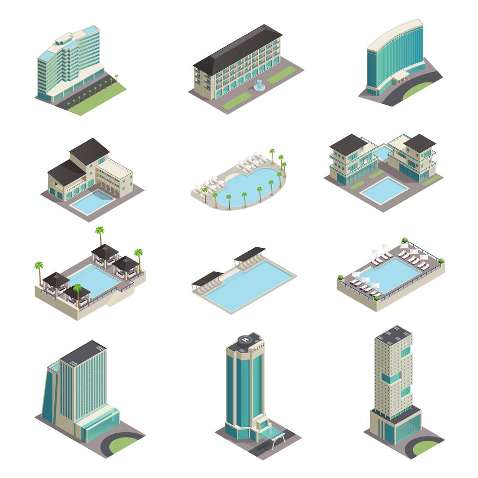 edifícios de hotel de luxo isométricos vetor