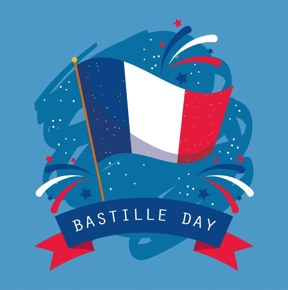bandeira da frança com fita do feliz dia da bastilha vetor