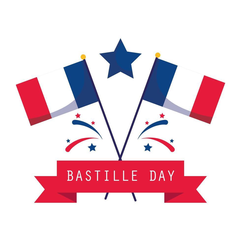 bandeiras, estrela e fita do feliz dia da bastilha vetor