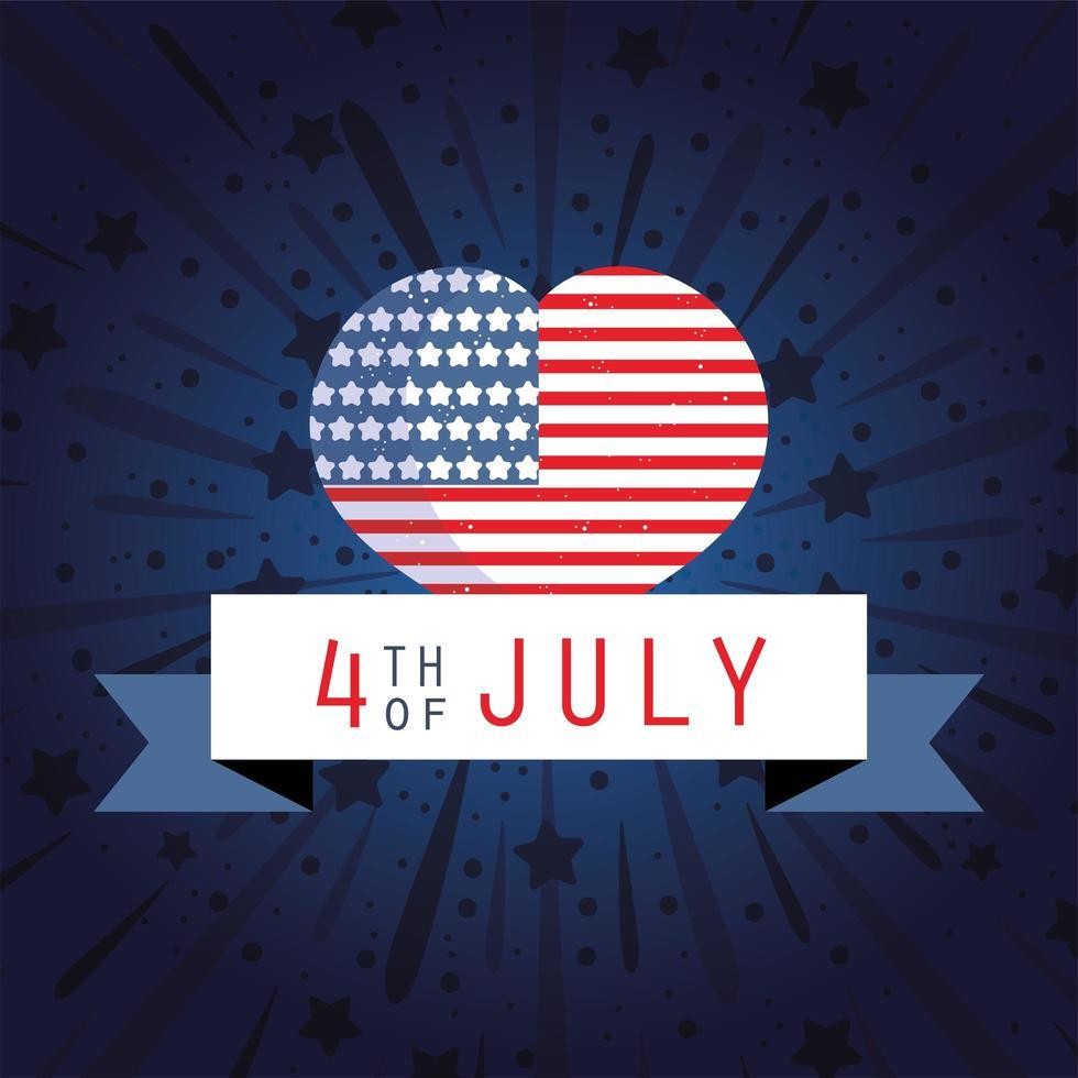 bandeira do dia da independência dos EUA e coração com fita vetor