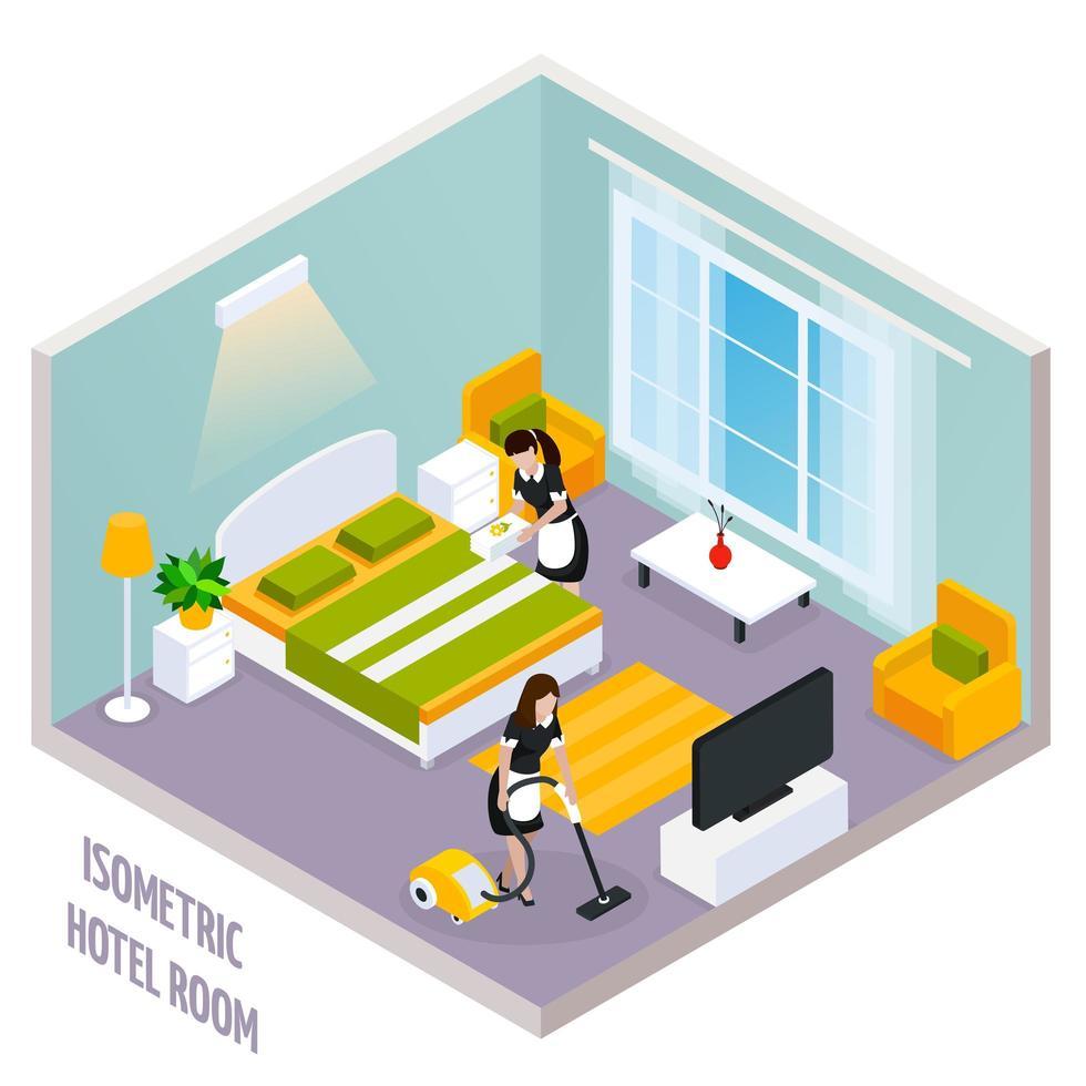 interior isométrico de quarto de hotel vetor