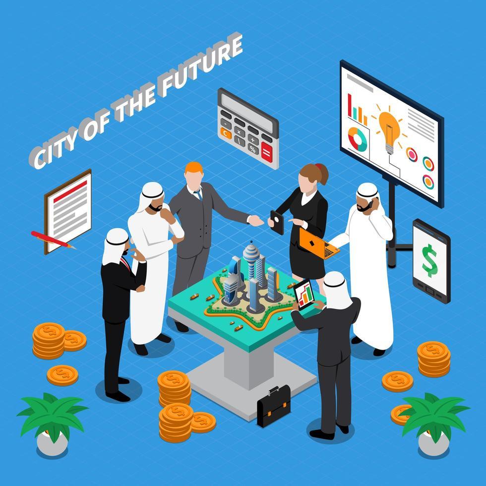 investidores isométricos e planejadores de cidades trabalhando vetor