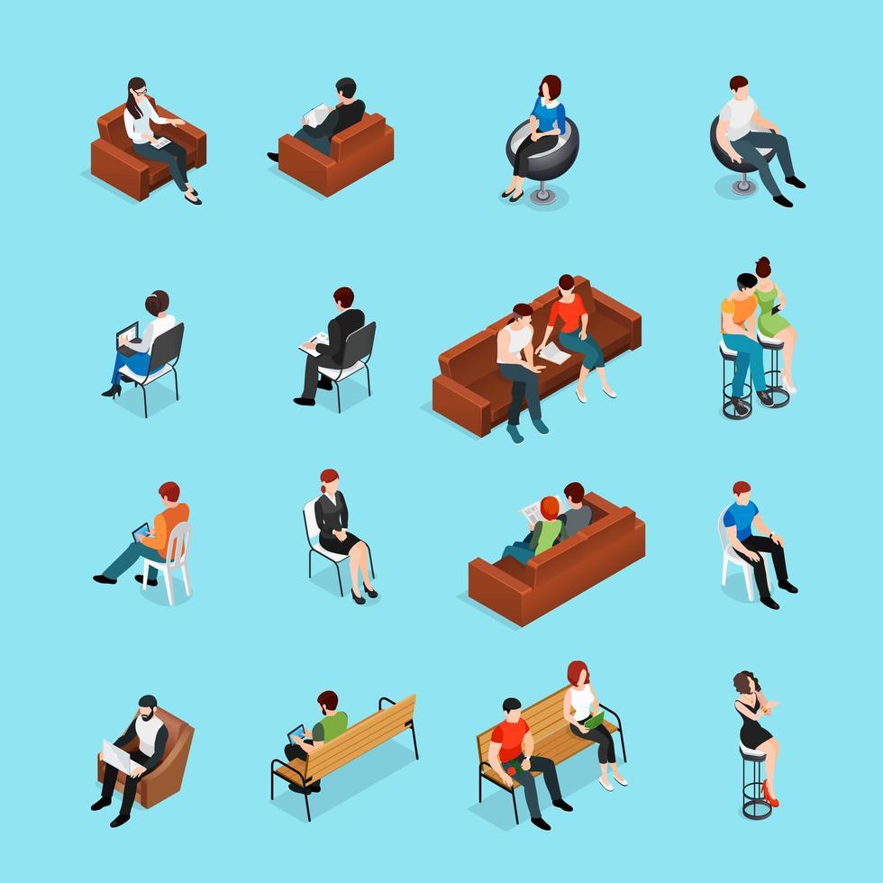 conjunto isométrico de pessoas sentadas vetor