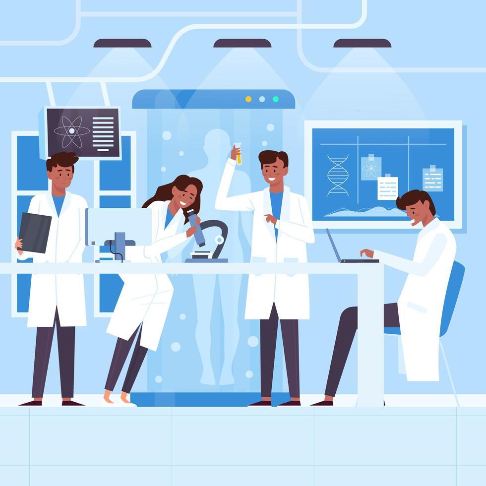pessoas trabalhando em um laboratório de ciências vetor