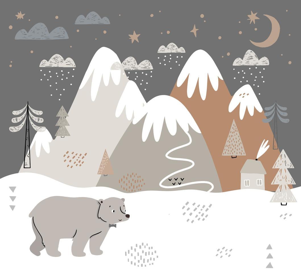 mão desenhada cena de inverno estilo escandinavo com urso vetor
