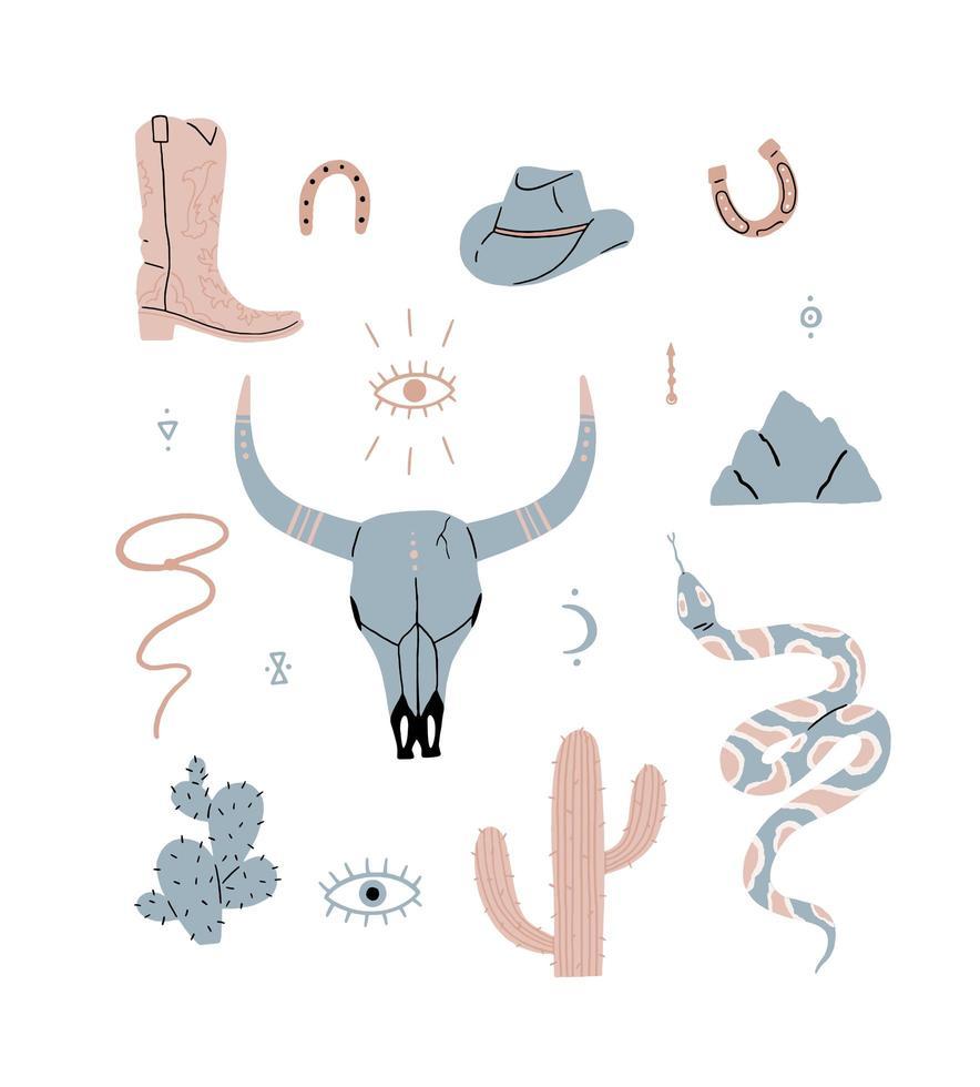 Conjunto de elementos do oeste selvagem desenhado à mão vetor