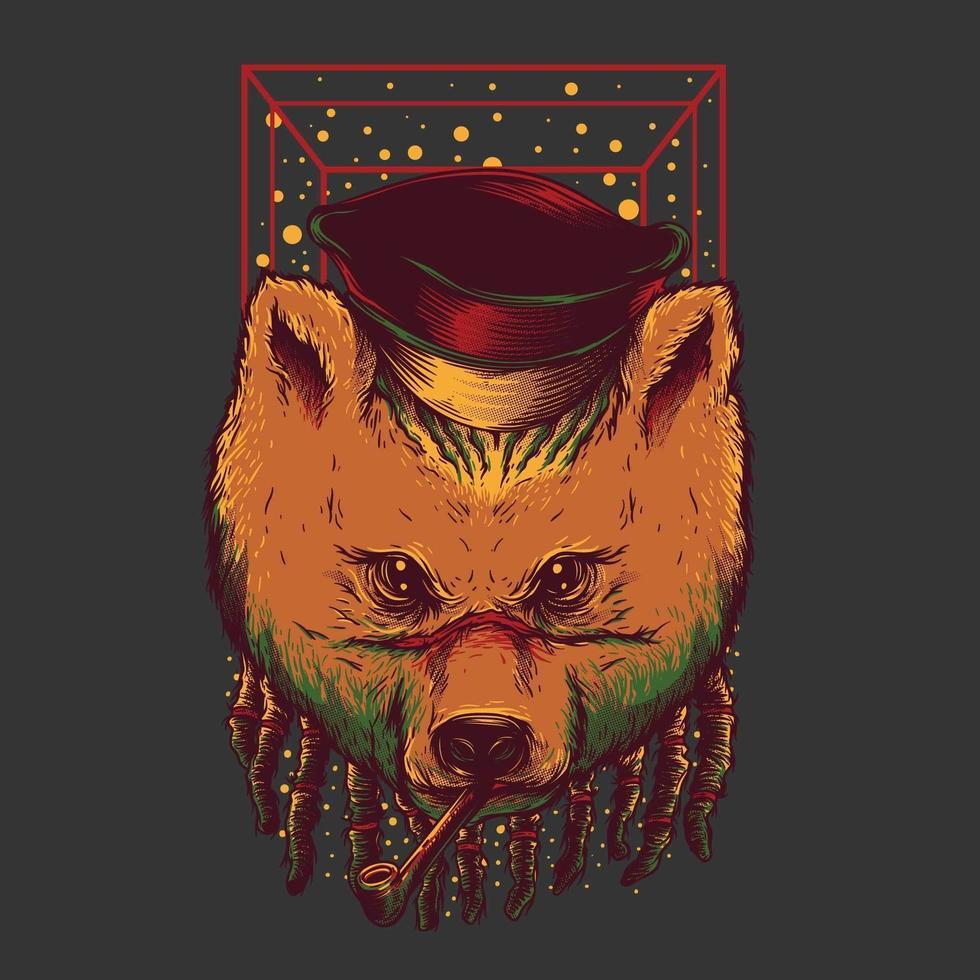 design de camiseta de urso e charuto vetor